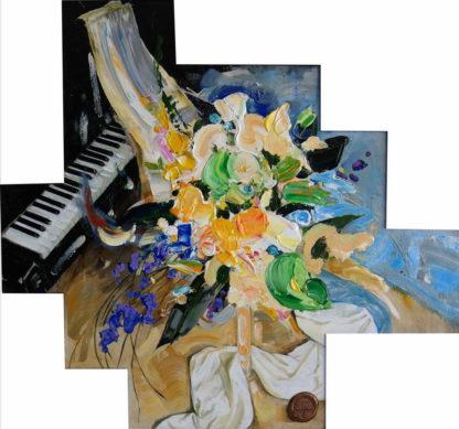 Цветы и музыка – 74х80см