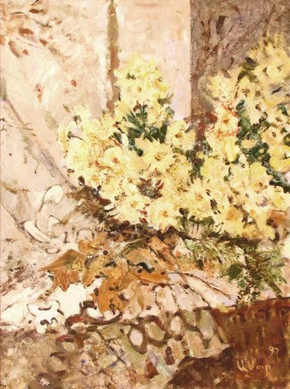 Цветы у окна – 80х60см
