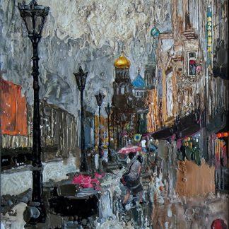 Картина «Летний дождь» — 87х87 см. Холст, масло.